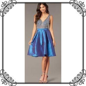 🆕NWT Luxurious Blue Formal Jeweled V Neck Dress